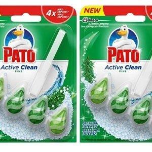 Pato active clean de sc johnson, colgador para inodoro, frescor intenso aroma pino, 150 grs. pack 2