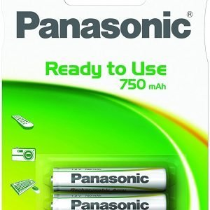 Panasonic, caja de 12 blisters de 2 pilas recargables aaa 1,2 v 750 mah hhr-4mve/2bc