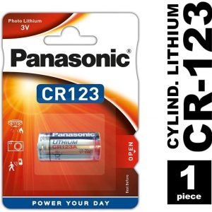Panasonic, caja de 12 blisters de 1 pila litio 3v cr-123al/cr123 li-ion, 1600 mah pacr123a oxyride