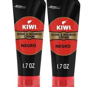Tubo kiwi shine & nourish crema color negro para el cuidado del calzado, sin aplicador. pack de 2 u