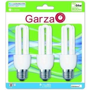 Garza lighting, pack de 3 bombillas de ahorro formato stick t3, 15 w, 800 lúmenes, 40k, luz natural