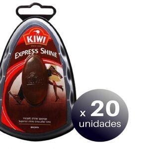 Esponja kiwi express shine de sc johnson, abrillanta tu calzado, marrón, 150 grs. pack 20 unidades