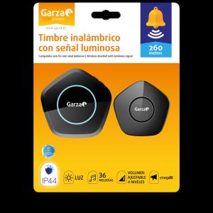 Garza home power, timbre inalámbrico exterior infrarrojos ip44, color negro