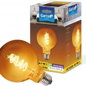 Bombilla garza led filamento espiral, gold globo, g125, 3 w, 170 lúmenes, e27, 360º, luz cálida