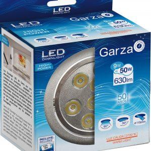 Garza lighting, downlight led empotrable alta potencia 5w 60o 630 lúmenes 27k aluminio luz cálida