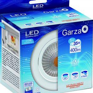 Downlight garza cob led empotrable, 5 w, 60º, 400 lúmenes, blanco, luz cálida 3000 k