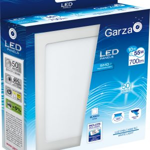 Garza lighting, empotrable downlight led panel blanco rectangular 20x20 10w 700 lúmenes 40k