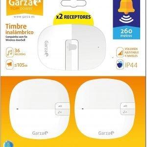 Garza smart home, timbre inalámbrico ovalado exterior con ip44 por infrarrojos con 2 receptores, co