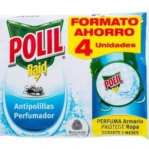 Insecticida polil® raid de sc johnson, antipolillas con 2 ganchos fragancia colonia. promoción 4 un