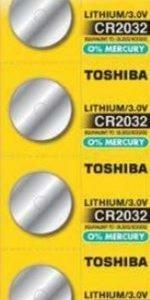 Panasonic, pack de 5 pilas / baterías de litio original toshiba cr2032 210mah