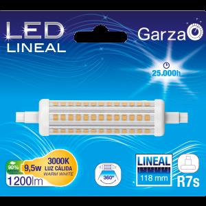 Bombilla lineal led garza r7s de 118 mm, 9,5 w, 1200 lúmenes, 360°, luz cálida