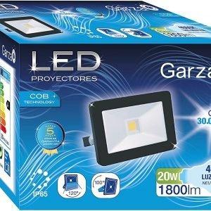 Garza lighting outdoor, foco proyector led exterior ip65 cob, 20w, 1800 lúmenes, luz neutra 4000k,