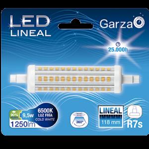 Bombilla lineal led garza con casquillo r7s de 118 mm, 9,5 w 1200 lumenes, 360°, luz fría
