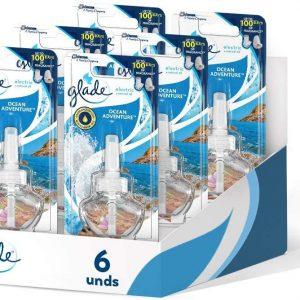Glade de sc johnson, recambio ambientador eléctrico líquido con aceites esenciales, ocean adventure