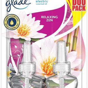 Glade de sc johnson, pack 2 recambios ambientador eléctrico líquido aceites esenciales, aroma relax