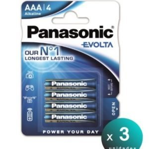 Panasonic, blister de 4 pilas alcalinas panasonic evolta lr03, aaa 1,5 v. pack de 3 blisters