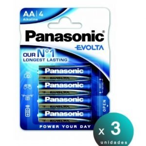 Panasonic, blister de 4 pilas alcalinas panasonic evolta lr06, aa 1,5 v. pack de 3 blisters
