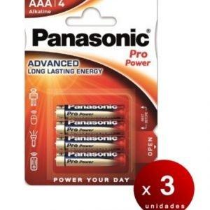 Panasonic blister de 4 pilas alcalinas panasonic pro power aaa lr03 1,5 v. pack de 3 blisters