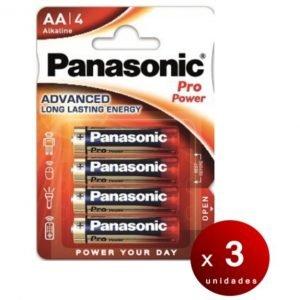 Panasonic, blister de 4 pilas alcalinas panasonic pro power aa lr06 1,5 v. pack de 3 blisters
