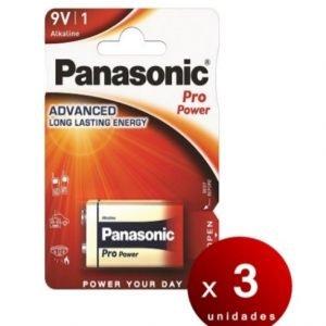 Panasonic, blister de 1 pila alcalina panasonic pro power 9 v, 6lf22 1,5 v. pack de 3 blisters