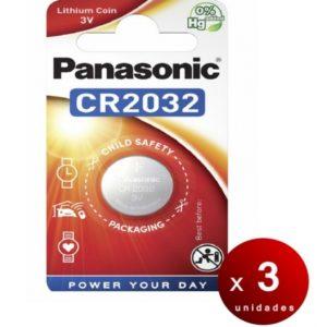 Panasonic, blister de 1 pila panasonic botón litio cr2032 no-recargable, 3v, 225 mah. pack de 3 bli
