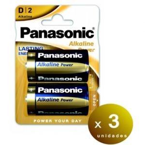 Panasonic, blister de 2 pilas panasonic alkaline power d lr20 1,5 v. pack de 3 blisters