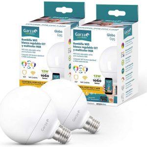 Garza smarthome, pack 2 bombillas led wifi cct + rgb 12w globo e27, inteligente, control voz/app, i