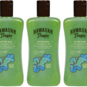 Hawaiian tropic gel after sun de aloe vera para piel irritada por el sol, 200 ml. pack de 3 unidade