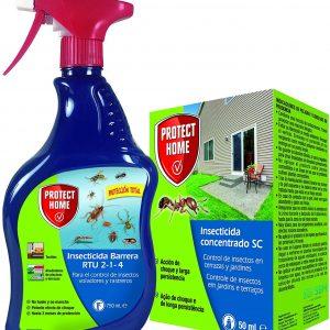 Protect home, pack insecticida protección total interior y exterior, rastreros y voladores, liquido