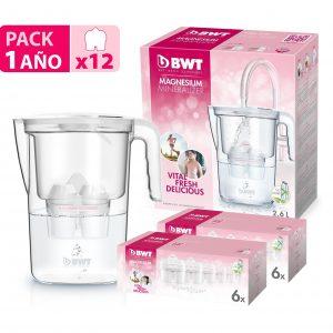 Bwt vida manual, jarra 2,6 litros filtradora de agua con magnesio de agua filtrante con magnesio bw