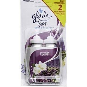 Glade sense & spray de sc johnson, recambio 2 unidades ambientador fragancia lavanda y jazmín