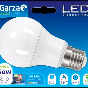 Garza lighting, bombilla led standard 9w, e27, 240º, 850 lúmenes, 50k, luz fría