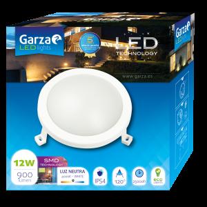 Garza lighting outdoor - plafón led circular de exterior, 12w, 120º, 900 lúmenes, protección ip54,