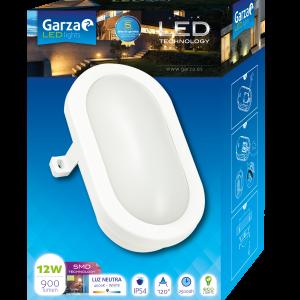 Garza lighting outdoor, plafón led oval de exterior, 12w, 120º, 900 lúmenes, ip54 contra agua/polvo