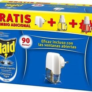 Raid eléctrico de sc johnson anti mosquitos comunes y tigre 90 noches, aplicador y 2 recambios