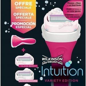 Pack wilkinson intuition variety edition - depilación mujer: máquina recargable 4 hojas jabón + 3 r