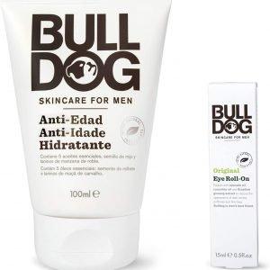 Pack bulldog duo, cuidado facial masculino anti-edad, crema hidratante anti-edad 100 ml + roll on c