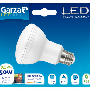 Garza lighting, bombilla led reflectora r63, 9,5 w, e27, 110º, 620 lúmenes, 40k, luz neutra