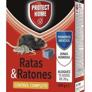 Raticida protect home en bloques brodifacoum de alta eficacia, mata ratas y ratones, 15 dosis de 20