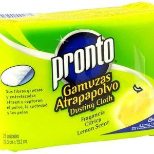 Pronto de sc johnson, 20 gamuzas atrapa polvo para muebles, aroma cítricos limón, doble uso.