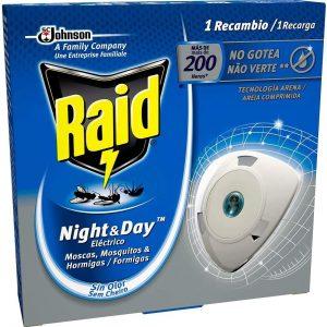 Recambio raid night & day repelente de moscas, mosquitos y hormigas, 200 horas