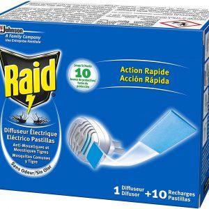 Raid de sc johnson, difusor eléctrico pastillas anti mosquitos comunes y tigre, con 10 pastillas