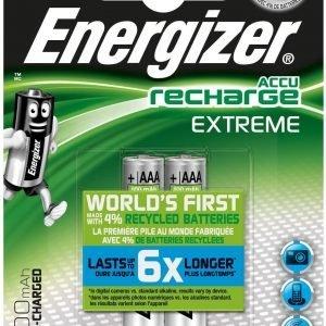 Energizer extreme pilas recargables, 800 mah, aaa hr03, blister de 2 unidades
