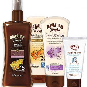Pack hawaiian tropic con aceite bronceador spray + crema solar ultra radiance + loción solar piel s