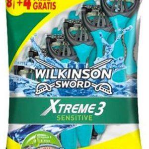 Wilkinson sword xtreme 3 sensitive, pack de 8 + 4 maquinillas desechables con cuchilla flexible de