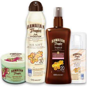 Pack hawaiian tropic aceite spray + bruma solar silk hydration airsoft  + crema solar facial + afte