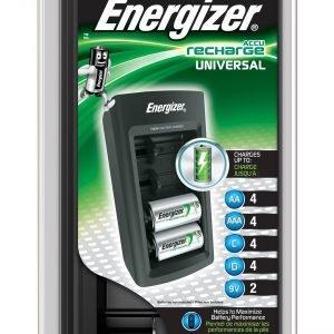 Cargador de pilas universal energizer, compatible aa / aaa / c / d / 9v, con indicador de carga