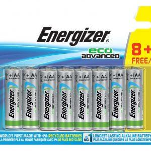 12 pilas energizer eco advanced aa, lr6, pilas recicladas ecológicas de larga duración