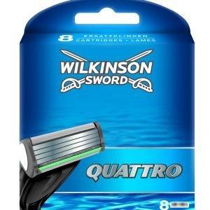 Wilkinson sword quattro plus, cargador de 8 cuchillas de afeitar masculinas de cuatro hojas