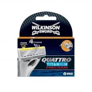 Wilkinson sword quattro titanium, cargador de 4 cuchillas de afeitar masculinas de cuatro hojas